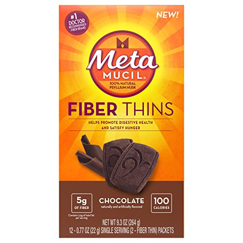 Fiber Thins Fiber Supplement, 12 Servings - Fiber Chews Chocolate
