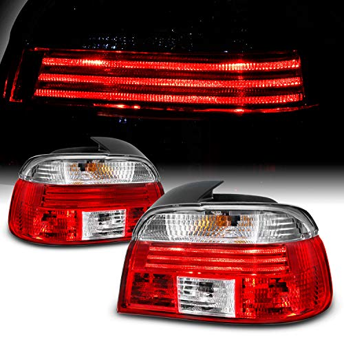 For 1997-2000 BMW 5-Series E39 Red Clear Lens Tail Brake light Assembly Driver and Passenger Side