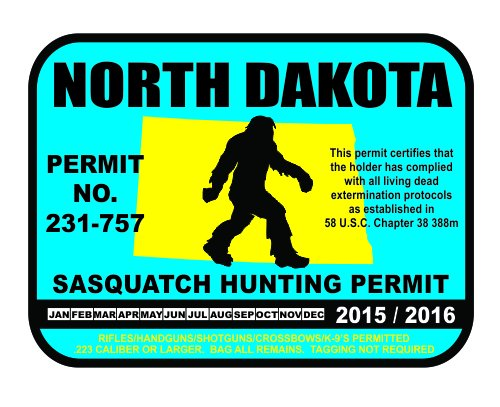 North Dakota Bigfoot Hunting Permits Bigfoot Gifts Toys