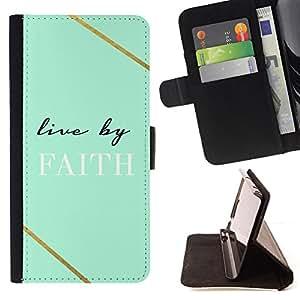 BullDog Case - FOR/Samsung Galaxy S6 EDGE / - / live by faith teal Christian god cross /- Monedero de cuero de la PU Llevar cubierta de la caja con el ID Credit Card Slots Flip funda de cuer