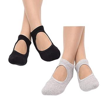 VORCOOL 2 Pares de Calcetines de Yoga Pilates Calcetines de algodón  Antideslizante Calcetines de Baile de Ballet Deporte Masaje Calcetines  Tobillo para ... 52da895f6b65