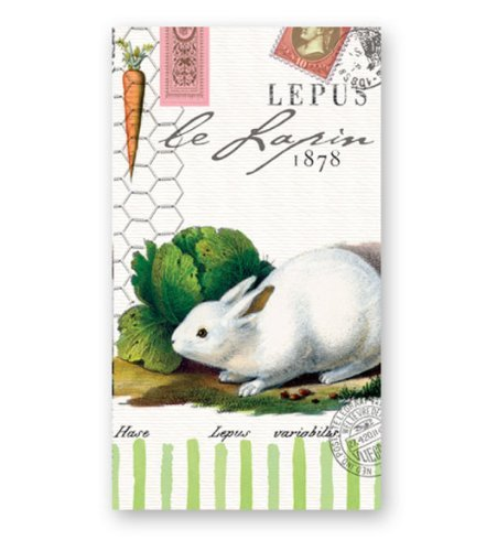 Michel Design Works Bunnies Hostess Napkin, Package of 15, 3-Ply