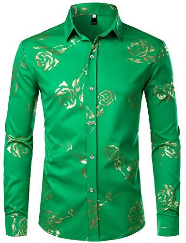(ZEROYAA Mens Hipster Gold Rose Printed Slim Fit Long Sleeve Dress Shirts/Prom Performing Shirts Z56 Shamrock Green Small)