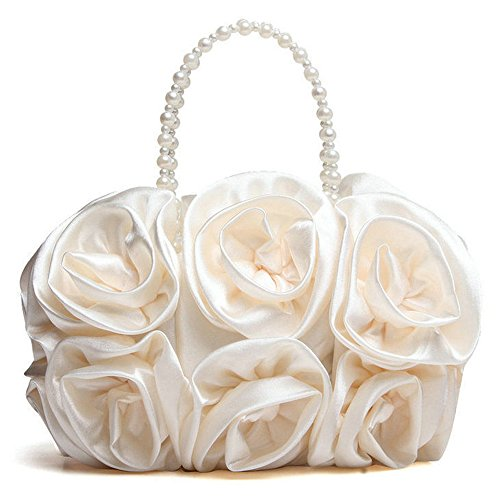 Pearl Rose Evening Handle Chain Handbag Handbags Beaded Bag for Red Satin White with Purse Pure Evening Women Color Wedding Clutches fdRtqT6