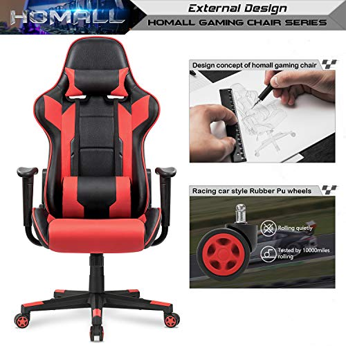 Homall Gaming Chair Racing Style High-Back Faux Leather Office Chair Computer Desk Chair Executive and Ergonomic Style Swivel Chair with Headrest and Lumbar Support(Red) by Homall (Image #4)