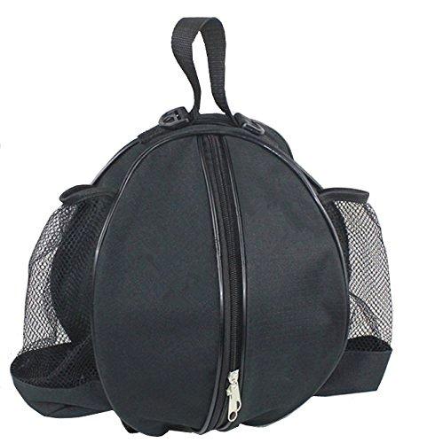 Der&Dies Fußballtasche Basketballtasche Volleyballtasche Trainingstasche Sporttasche Sportrucksack Sportbeutel im schicken Design mit zwei Flaschen-Netztaschen für die Jungs,Kinder und Schulkinder beim Trainieren und Fitness. (Schwarz)