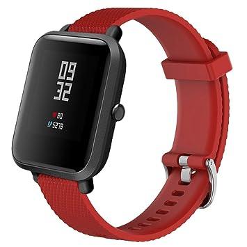 Zolimx para Xiaomi Huami Amazfit Bip Reloj Reemplazo Suave Silicagel Deportes Banda Correa (Rojo)