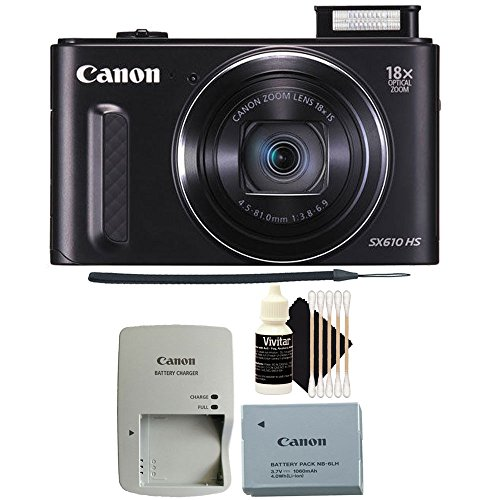 Canon PowerShot SX610 HS 20.2MP Wifi / NFC Enabled 18X Optical Zoom Point and Shoot Digital Camera + All You Need Cleaning Accessories