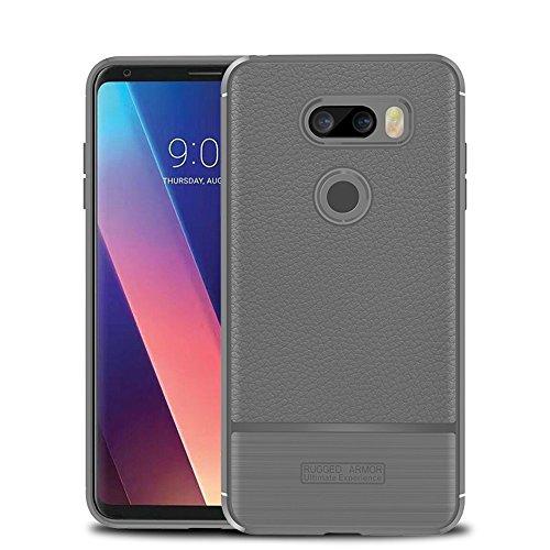 Funda LG V30,Funda Fibra de carbono Alta Calidad Anti-Rasguño y Resistente Huellas Dactilares Totalmente Protectora Caso de Cuero Cover Case Adecuado para el LG V30 B