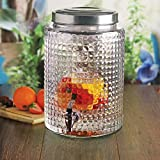 Circleware 66889 Sun Tea Mason Jar Beverage Dispenser with Fruit Infuser, Ice Insert and Metal Lid Entertainment Glassware Water Pitcher for Juice, Beer & Cold Drinks, Huge, 2.7 Gallon Windowpane