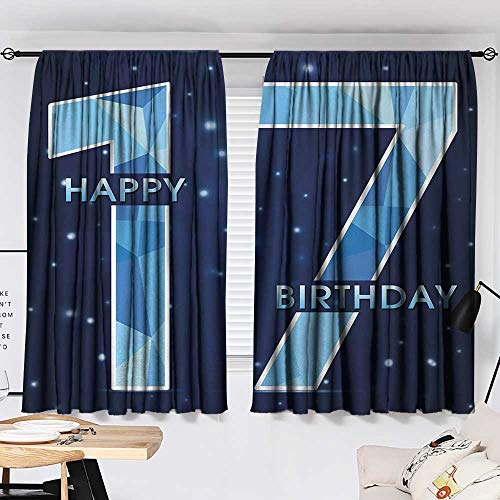 Jinguizi 17th Birthday Curtain for Bathroom Space Stage Theme Image with Star Like Dots Seventeen Youth Theme Microfiber Darkening Curtains Sky Blue and Navy Blue W55 x L39 by Jinguizi (Image #1)