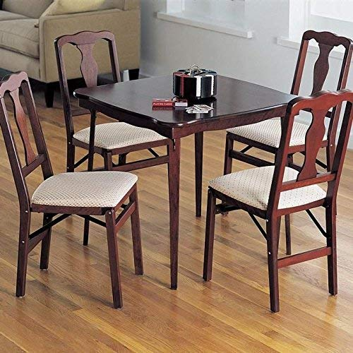 Stakmore Scalloped Edge Folding Card Table Finish Cherry Meco Industries 0052.00791