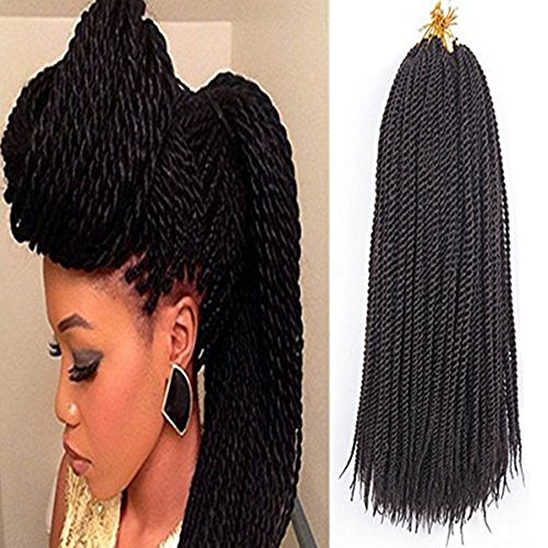 Price comparison product image Senegalese Twist Crochet Hair 18inch 6packs Small Twist Braids Synthetic Crochet Braiding Hair Extensions(1b 18inch)
