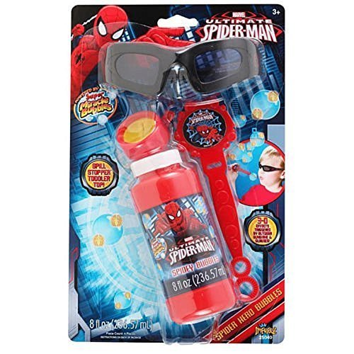 (Marvel Ultimate Spider Man 3D Bubble Maker Wand Solution Glasses Spill Stopper Kids Fun Play Kit)