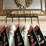 "Personalized Mantel Christmas Stocking Hanger (Lucida Font - 6 Hooks) - 1/8"" Thick Steel - Powder Coated Black Finish - Handmade in America - Holiday Decor Mantel Accessory"