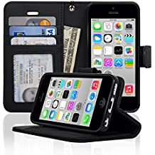 Navor iPhone 5C Case Protective Book Style Folio Wallet Cover [Remvoable Strap] [Clear ID Window] PU Synthetic Leather - Black