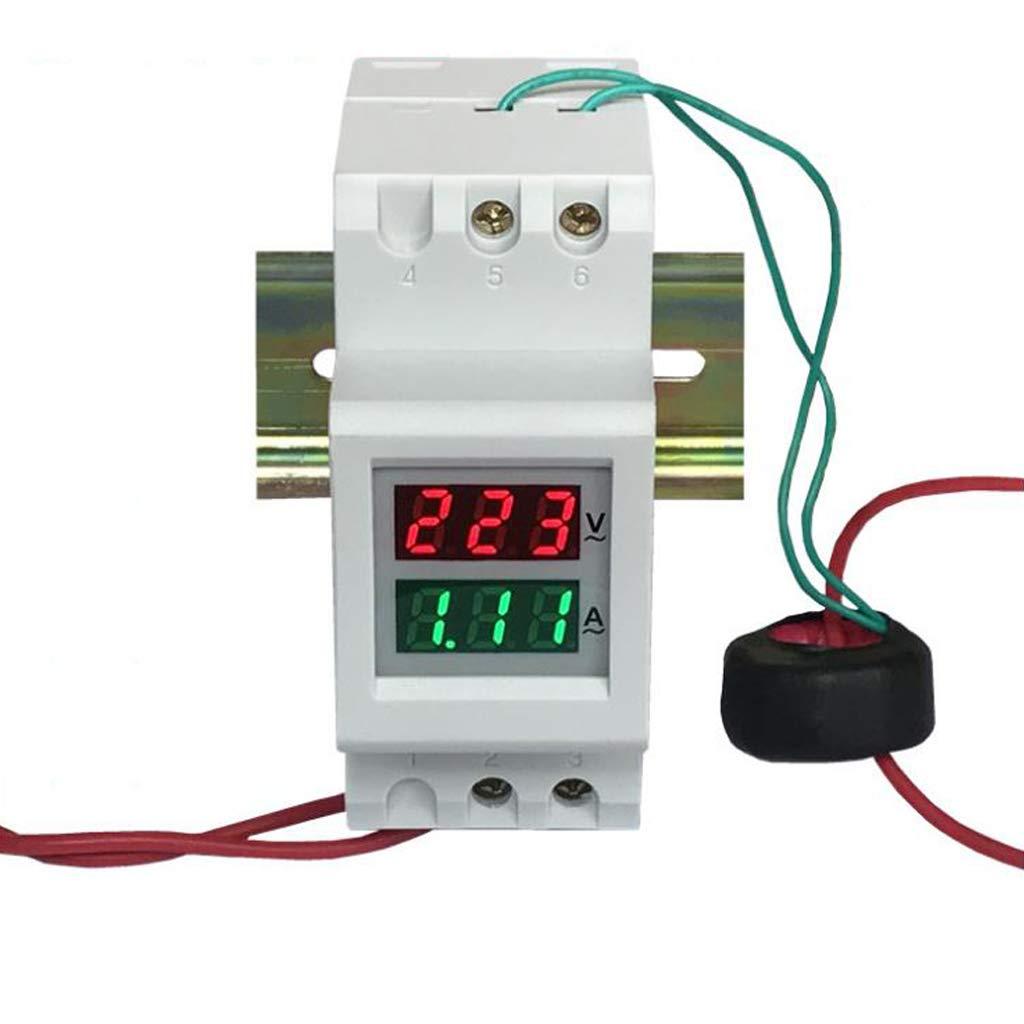 300/V 250 100/A Jenor 2P 36/mm Rail DIN double LED Tension courant M/ètre Voltm/ètre Amp/èrem/ètre AC 80 450/V 0