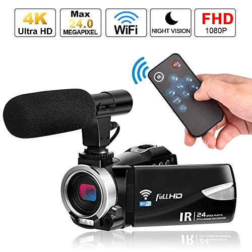 Camcorder Digital Video Camera 4K, Weton WiFi Camcorder with Microphone Full HD 1080P Vlogging Camera for YouTube 30 FPS 24.0 MP Video Recorder LCD IR Night Vision Vlog Camera(Two Batteries Included)