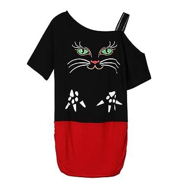 QinMM Camiseta con Estampado de Gato Mujer, Manga Corta Camisa Sin Hombros (Negro,