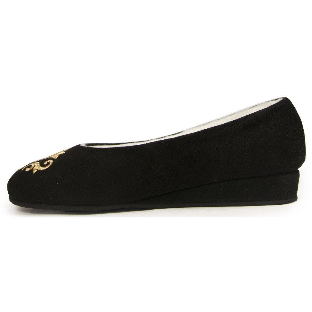 Jacques Levine - Bel Esprit Wedge - Emroidered Shearling-lined Women's Slipper, 9 (B) Black