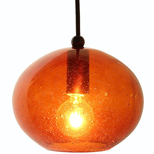Direct-Lighting DPN-49289-AMBER Oval Shaped Seeded Glass Mini Pendant Light, Amber Glass