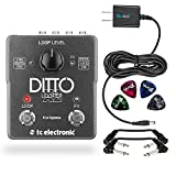 TC Electronic DITTO X2 Looper Effects Pedal -INCLUDES- Blucoil 9V Replacement Power Supply and 4 Pack of Guitar Picks PLUS 2 Hosa 6 inch Molded Right-Angle Guitar Patch Cables
