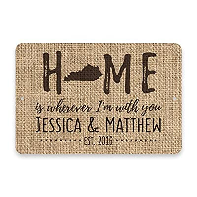 Teisyouhu Rustic Metal Sign Post Personalized Burlap Design Kentucky Home is Wherever I'm with You Aluminum Wall Art Plaque Decoration