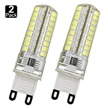 Dayker 5W G9 Bipin LED Corn Bulb Daylight AC 100-130V JD Type Silicone Candelier SMD2835 72 LED Equivalent to 45W Incandescent Bulbs(2 Pack)