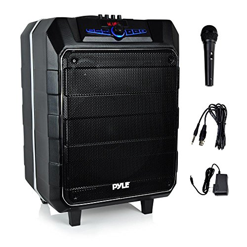 Pyle PA Speaker Job Site Radio Karaoke Machine 2 Microphone Input 1 Mic Included Water Resistant Marine Grade Bluetooth Compatible USB Micro SD Card Reader Aux Input,FM Radio 12