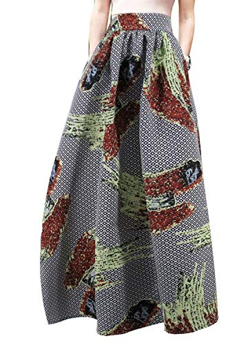 Hoohu Womens Bohemian African Floral Print High Waist Pleated Hem Full/Ankle Length Long Maxi Swing Skirt Dress Gray