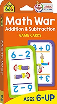 School Zone - Math War Addition & Subtraction Game Cards - Ages 6 and Up, Kindergarten, 1st Grade, 2nd Gra