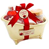 BRUBAKER 6 Pcs Cranberry Love Bath Gift Set With Bathtub