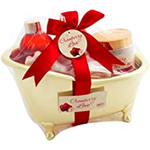 BRUBAKER 6 Pcs Gift Set 'Cranberry Love' Beauty Spa Set With Golden Bathtub, Bath Fizzer, Bubble Bath, Shower Gel, Bath Salt, Soap