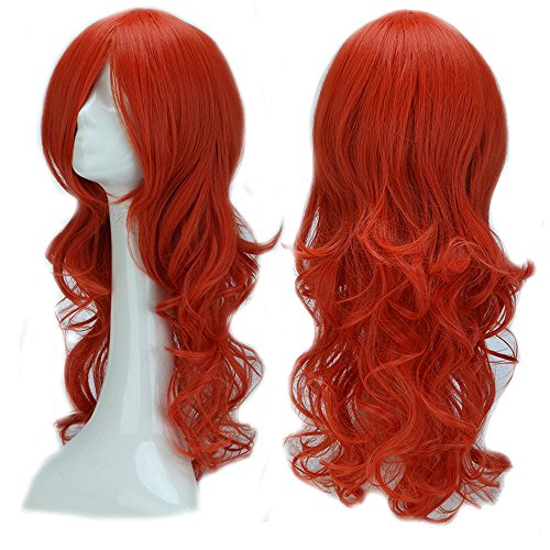 Girls Orange Braid Wig (2-5 Days Delivery Unisex Japanese Anime Cosplay Wigs Synthetic Long Curly Full Party Costume Wig Layered with Bangs and Cap Halloween Wigs for Women Men Girl Boy Teens (24