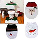 CYNDIE Christmas New 1pc Snowman Toilet Seat Cover and Rug Bathroom Christmas Decoration Gifts