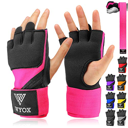 WYOX Boxing Wraps MMA Gloves Inner Boxing Gloves for Men Women Youth – EZ-Off & On – Thick Knuckle Padding – Breathable…