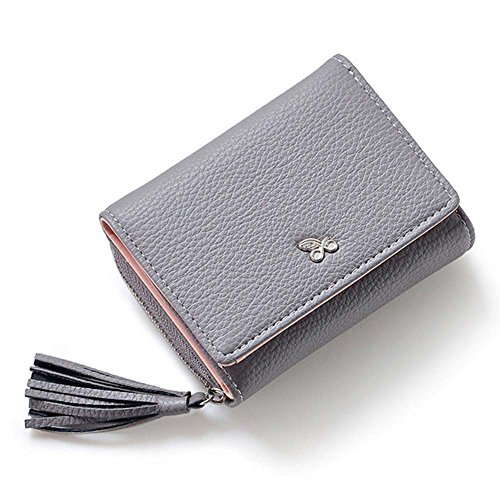 Wallet Fashion For Card Cash Women Tassels Zipper Grey Invoice Hasp Purse Small Lady Coin xwqYwztI