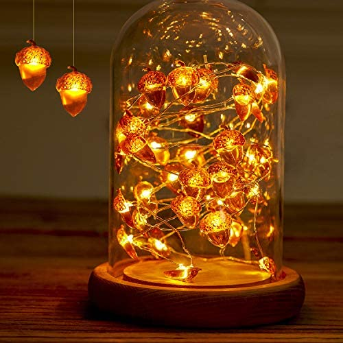 Acorn String Lights, Xmas Copper Wire Acorn String Lights, Fall Garland Decor, 10 Foot 40 LEDs Battery Operated Fairy Lights, Indoor Outdoor, Xmas Tree Decoration IP65 Waterproof