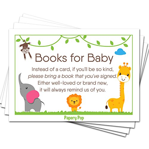50 Books for Baby Shower Request Cards for Boy or Girl (50 Pack) - Bring a Book Instead of a Card - Baby Shower Invitations Inserts Games Decorations Supplies - Safari Jungle Zoo Animals