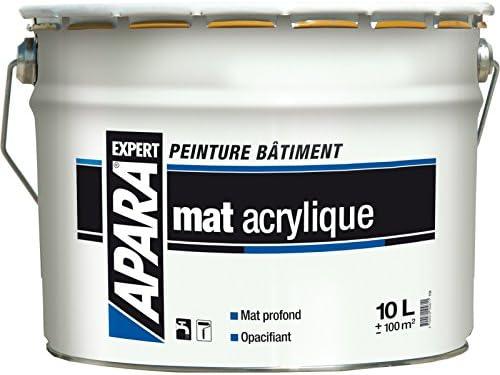 Peinture Blanc Mat Acrylique Bicouche Apara Expert 10 Litres