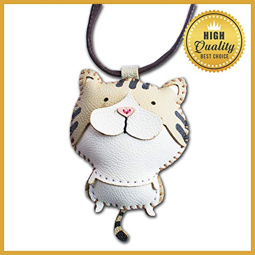 DECOOR Handmade Leather Key Chain Charms Key Ring Cute Funny Cat Bag Charm for Women Girls