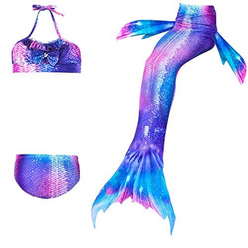 4Pcs Girl's Mermaid Tails Swimsuit Bikini Set Princess