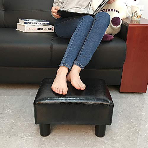 scriptract Modern Small Faux PU Leather Ottoman Footrest Stool Seat Chair Footstool,Black - Leather Outdoor Ottoman