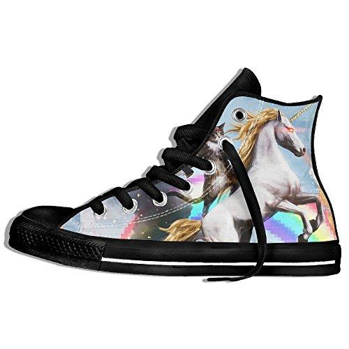 Classiche Sneakers Alte Scarpe Di Tela Anti-skid Cat Unicorn Strepitoso Casual Da Passeggio Per Uomo Donna Nero
