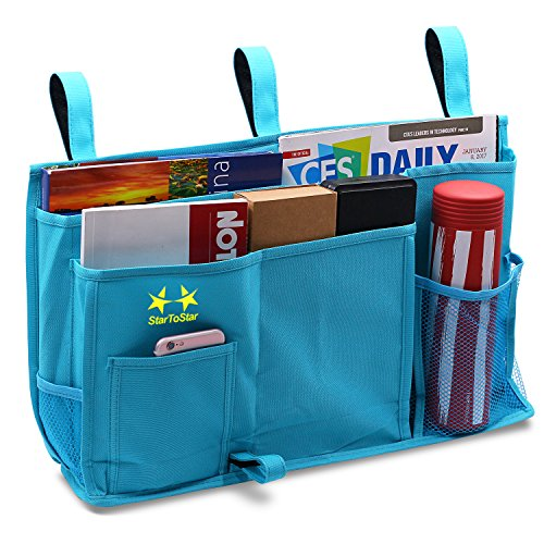 Startostar 8 Pocket Bedside Storage Bag Caddy Hanging Organizer with Improved 3 Straps - Best For Headboards, Bed Rails, Dorm Rooms,Bunk Beds, Hospital (Bunk Bed Accessories)