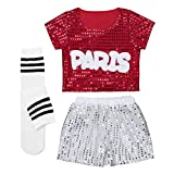 TiaoBug Kids Girls Hip-hop Jazz Performance Costumes Dancing Clothes Sequin School Show Set Red 7-8