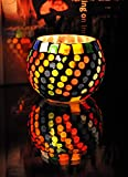 Decorative Entrance Glass Candle Holder 3 Inch Multi Color