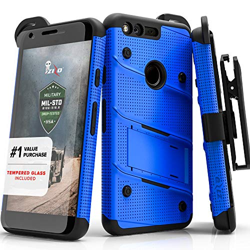 Zizo Bolt Series Compatible with Google Pixel XL w/ [Screen Protector] Kickstand [12 ft. Military Grade Drop Tested] Holster Clip (Blue/Black) -
