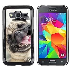 Paccase / SLIM PC / Aliminium Casa Carcasa Funda Case Cover - Pug Happy Smiling Dog Pet Canine Fawn - Samsung Galaxy Core Prime SM-G360