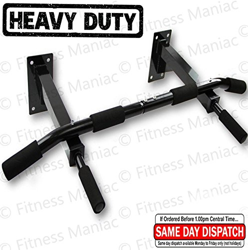 Fitness Maniac Chin Pull Up Bar Wall Mounted Exercise Fitness Workout Home Gym Heavy Duty